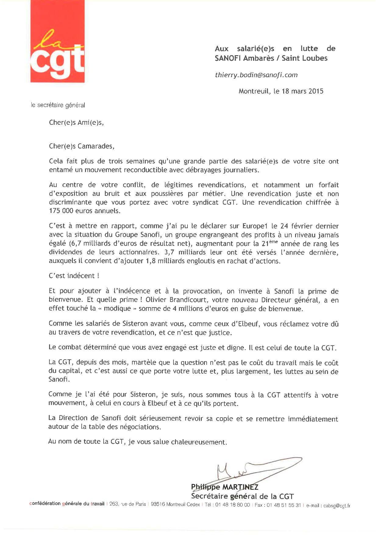 SANOFI Ambarès - Saint Loubes - Message de Ph. MARTINEZ - SG de la CGT - 18 03 2015