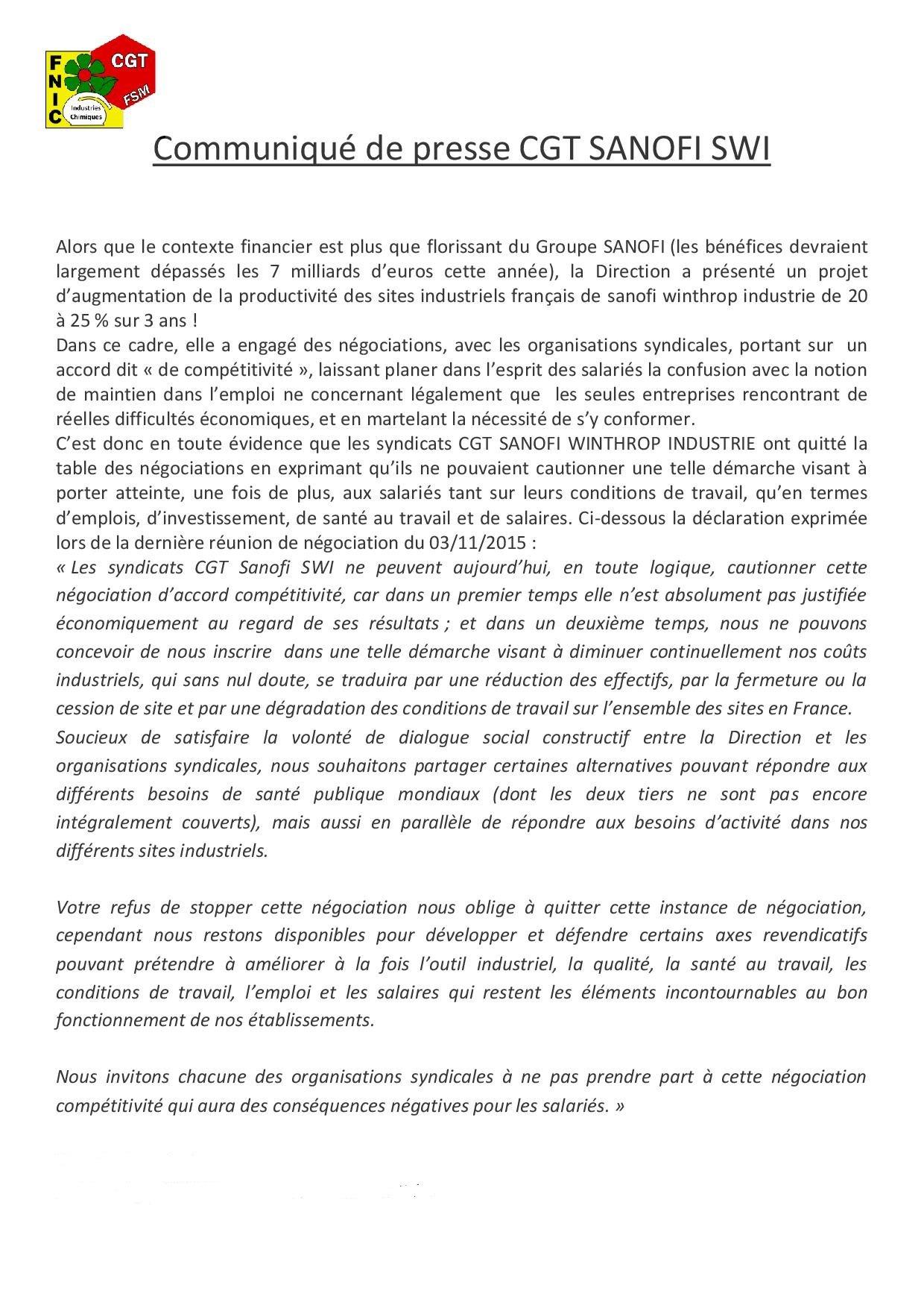 Communiqué de presse CGT SANOFI SWI competitivité