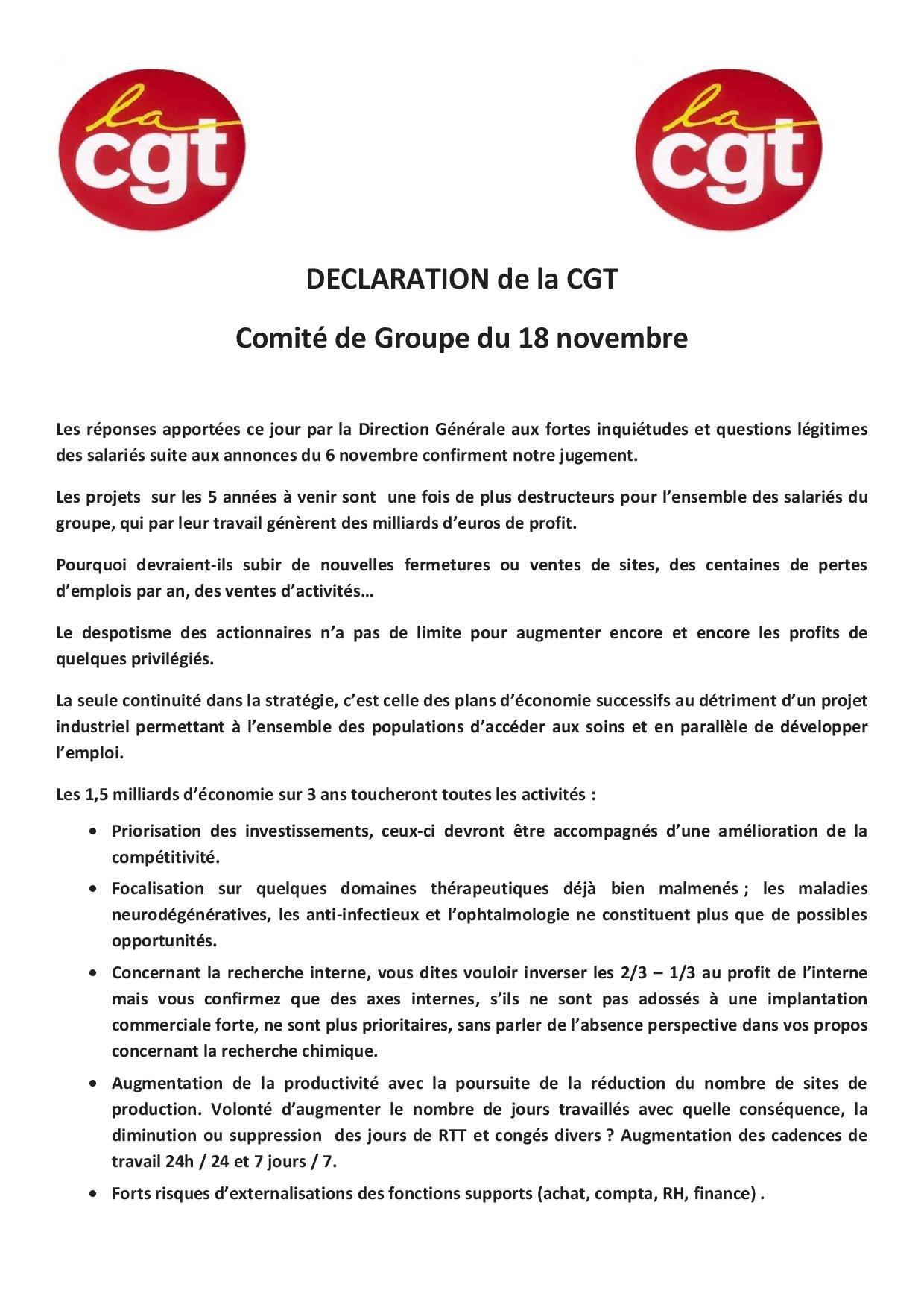 declaration cgt CGF 18 novembre